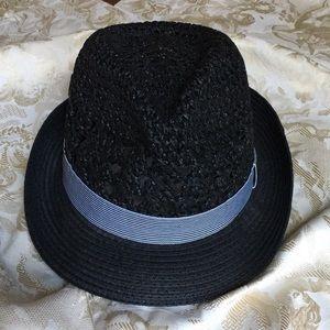 D & Y Black Paper Women Fedora Hat w/Striped Band